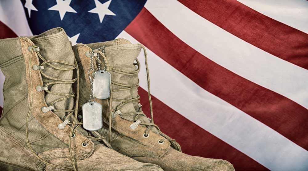 Images of boots and flag