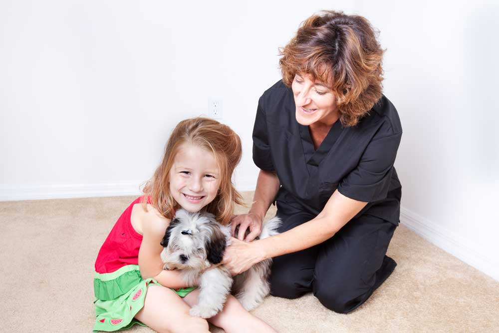 image of child with dog